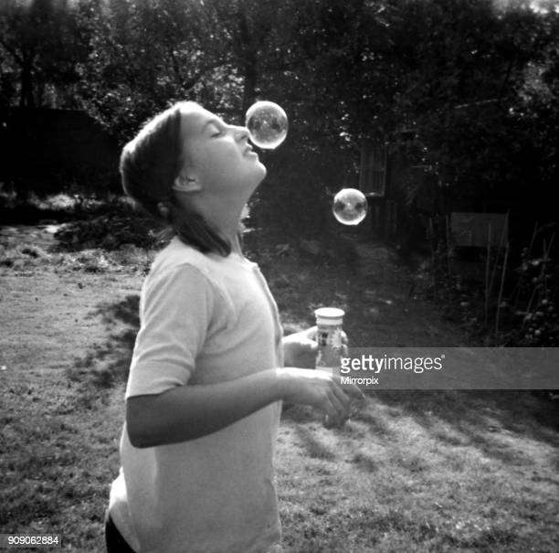 Catherine Spooner eleven year daughter of Daily Mirror staff photographer Doreen Spooner blowing bubbles 21st September 1970