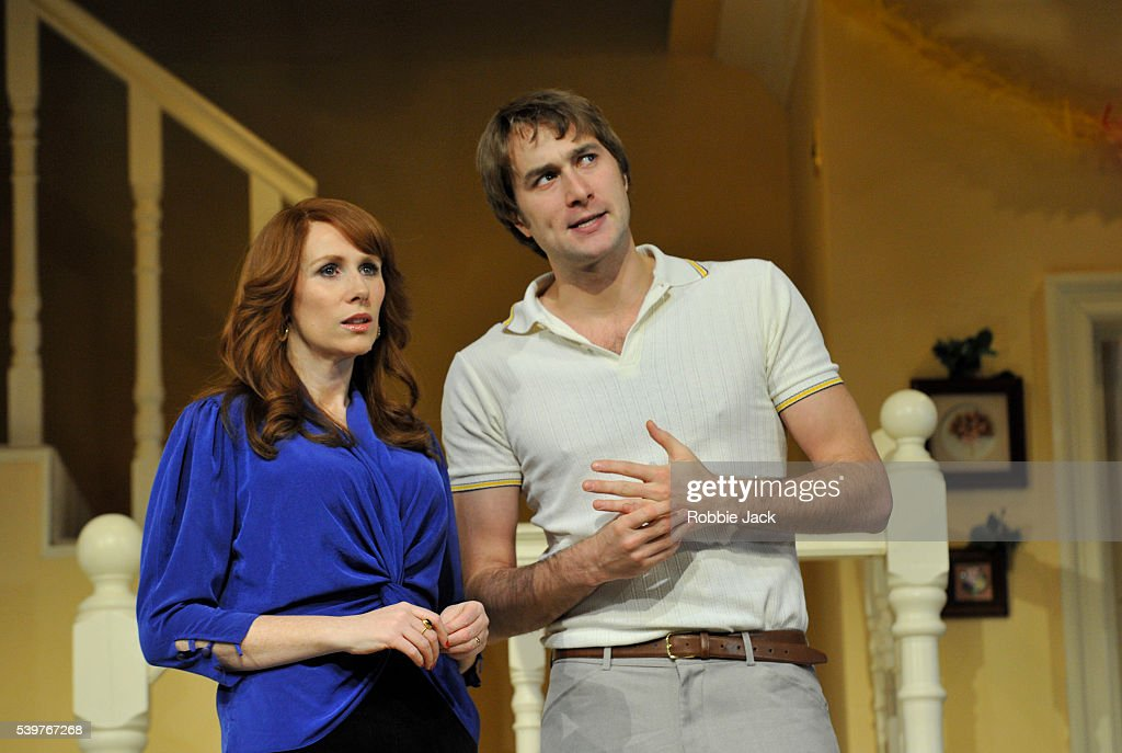 Uk seasons greetings performance in london pictures getty images catherine tate as belinda and oliver chris as clive in alan ayckbourns seasons greetings m4hsunfo