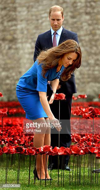 Catherine The Duchess of Cambridge adds a ceramic poppy watched by Prince William Duke of Cambridge as she visits The Tower of London's 'Blood Swept...