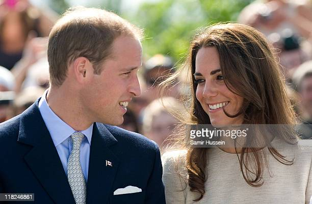 Catherine the Duchess of Cambridge and Prince William Duke of Cambridge visit the Somba K'e Civic Plaza on day 6 of the Royal Couple's North American...