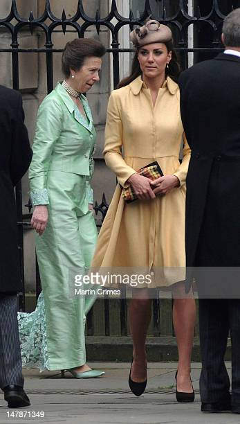 Catherine, the Duchess of Cambridge and Princess Anne, Princess Royal attend the Thistle Service for the installation of Prince William, who also has...
