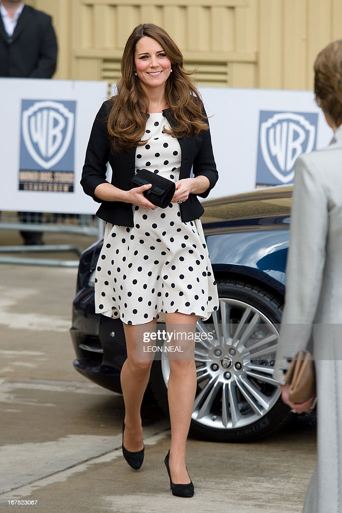 Catherine, The Duchess of Cambridge arrives for a visit at the Warner Brother's studio in Leavesden on April 26, 2013.