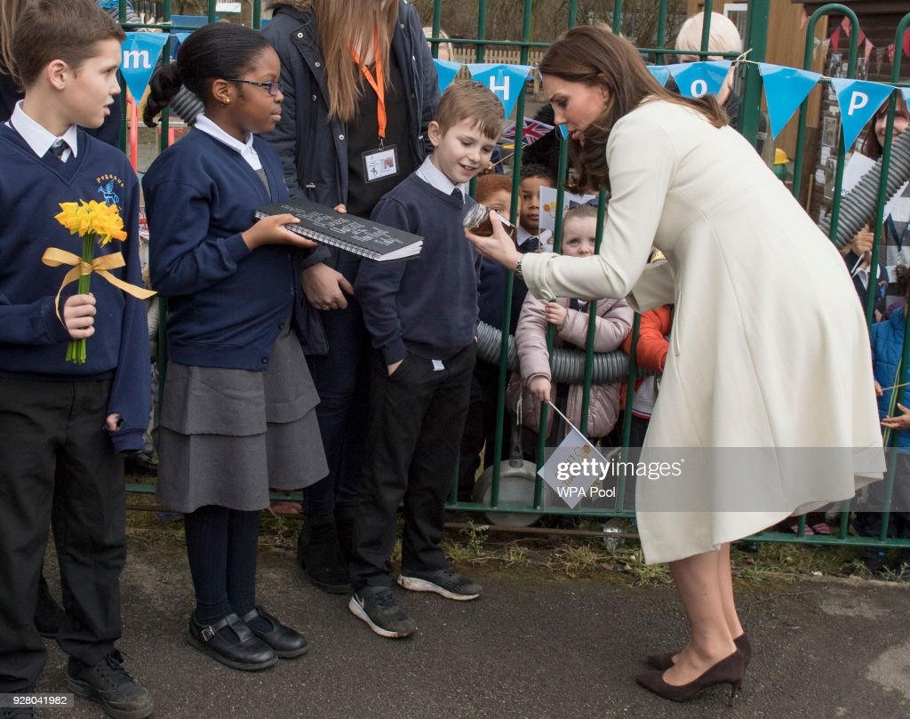 Catherine, The Duchess of Cambridge arrives to learn about the work of the charity Family Links which works closely with schools nationwide to support both children and parents with their emotional health and wellbeing, with an emphasis on early intervention during a visit to Pegasus Primary School in Oxford on March 6, 2018 in Oxford, England.