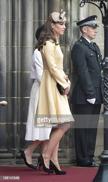 Catherine The Duchess Of Cambridge Attends The Thistle Service At St Giles' Cathedral Edinburgh For The Installation Of Prince William As A Knight Of...