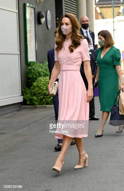 Catherine, the Duchess of Cambridge attends Wimbledon Championships Tennis Tournament at All England Lawn Tennis and Croquet Club on July 11, 2021 in...