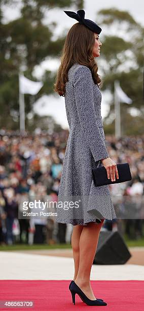 Catherine the Duchess of Cambridge during an ANZAC Day commemorative service at the Australian War Memorial on April 25 2014 in Canberra Australia...