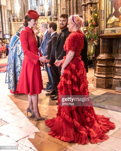 Catherine The Duchess of Cambridge greets Grace Chatto part of the group Clean Bandit who performed at Westminster Abbey Commonwealth day service...