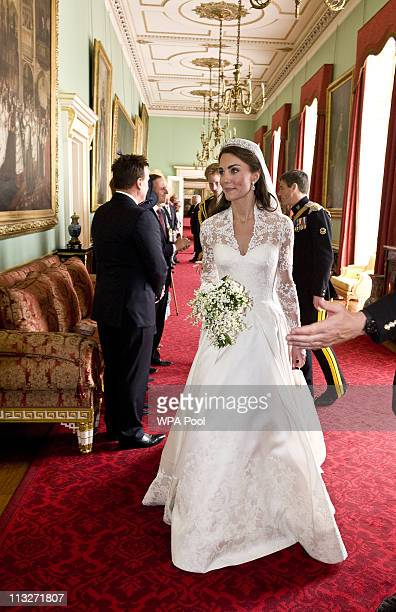 Catherine The Duchess of Cambridge meet GovernorsGenaral and Prime Ministers at Buckingham Palace after her wedding to Prince William on April 29...
