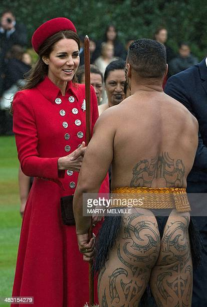 Catherine the Duchess of Cambridge meets a Maori warrior during a welcoming ceremony at Government House in Wellington on April 7 2014 Britain's...