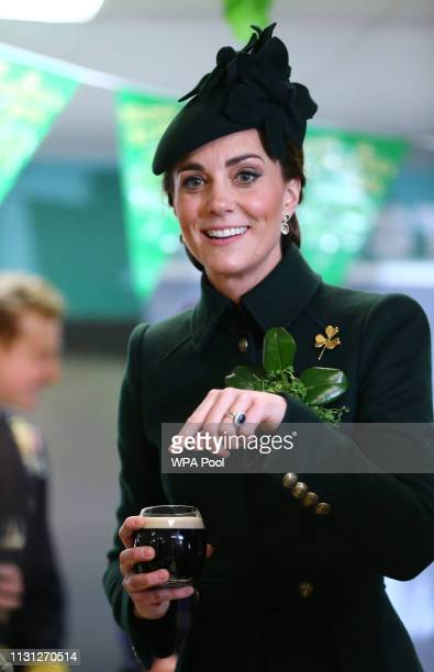 Catherine The Duchess of Cambridge meets with Irish Guards after attending the St Patrick's Day parade at Cavalry Barracks on March 17 2019 in...