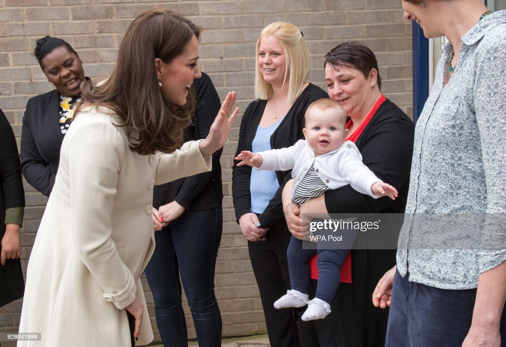 Catherine, The Duchess of Cambridge talks to Diane Leach and her daughter Tilly as she arrives to learn about the work of the charity Family Links which works closely with schools nationwide to support both children and parents with their emotional health and wellbeing, with an emphasis on early intervention during a visit to Pegasus Primary School in Oxford on March 6, 2018 in Oxford, England.