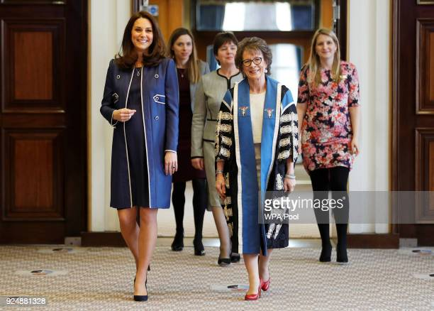 Catherine the Duchess of Cambridge visits Royal College of Obstetricians and Gynaecologist on February 27 2018 in London England