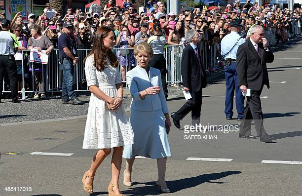 Catherine the Duchess of Cambridge walks with Jennifer Dudley wife of Glenn Dudley president of the Royal Agricultural Society of New South Wales...