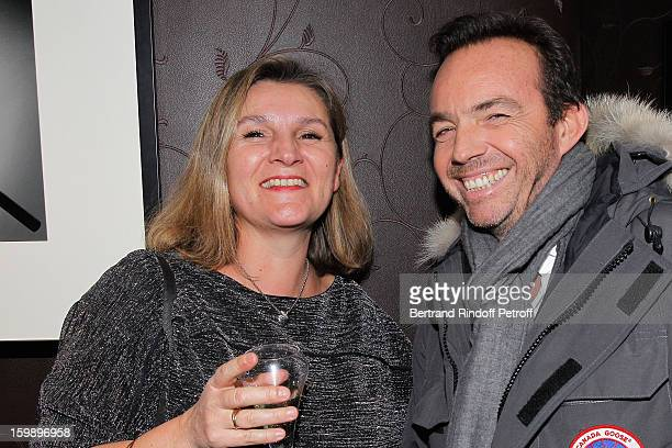 Catherine Toussaint and Alexis Tregarot attend 'La Petite Maison De Nicole' Inauguration Cocktail at Hotel Fouquet's Barriere on January 22, 2013 in...