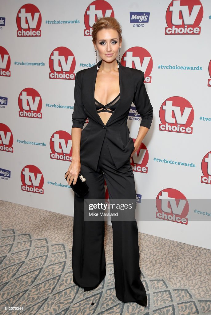 Catherine Tyldesley arrives for the TV Choice Awards at The Dorchester on September 4, 2017 in London, England.