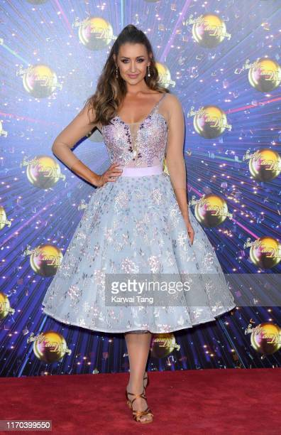 Catherine Tyldesley attends the Strictly Come Dancing launch show red carpet arrivals at Television Centre on August 26 2019 in London England