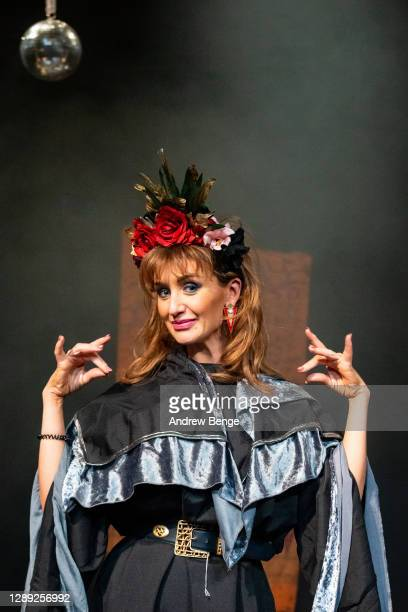 """Catherine Tyldesley poses on stage during the """"The Ceremony"""" rehearsals at Leeds City Varieties Music Hall on December 03, 2020 in Leeds, England."""