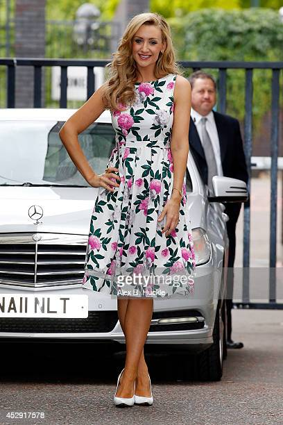 Catherine Tyldesley seen leaving the ITV Studios after an appearance on 'Lorraine' on July 30 2014 in London England Photo by Alex Huckle/GC Images
