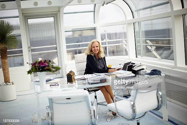 Catherine von FuerstenbergDussmann Chairman of the Dussmann group poses sitting behind the desk in their office in the Dussmann das Kulturkaufhaus on...