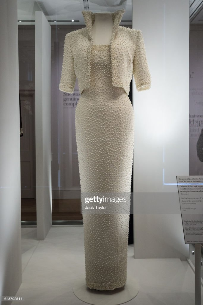 Catherine Walker dress and jacket dress embroidered with sequins and pearls, known as the 'Elvis Dress', worn by Princess Diana on an official visit to Hong Kong in 1989 on display at a press preview at Kensington Palace on February 22, 2017 in London, England. The exhibition 'Diana: Her Fashion Story', which showcases a number of the Princess' dresses and outfits, opens to the public on February 24 as part of events commemorating the life of Princess Diana to mark the 20th anniversary of her death in Paris on August 31st, 1997.