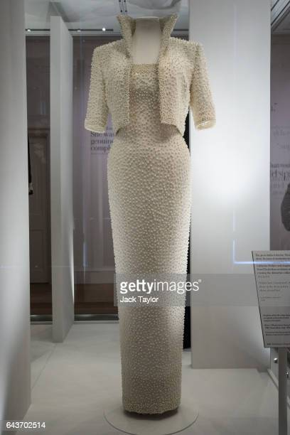 Catherine Walker dress and jacket dress embroidered with sequins and pearls known as the Elvis Dress worn by Princess Diana on an official visit to...