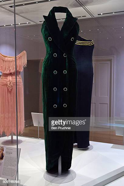 Catherine Walker dress that was worn by Princess Diana for a photoshoot with Mario Testino is displayed at the Fashion Rules Exhibition at Kensington...