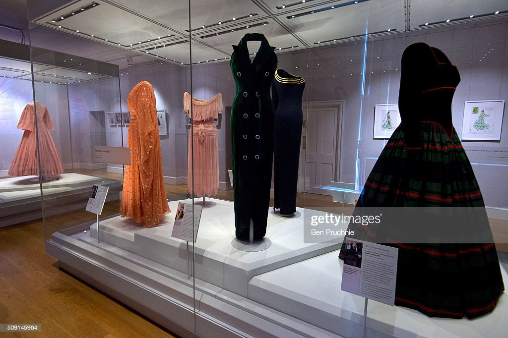 A Catherine Walker dress that was worn by Princess Diana is displayed at the Fashion Rules Exhibition at Kensington Palace on February 9, 2016 in London, England. The exhibition, that re-opens to the public on February 11, contains pieces including the dress Queen Elizabeth II wore for her official Silver Jubilee photograph and a dress worn by Diana, Princess of Wales for her last official photo shoot with famed photographer Mario Testino.