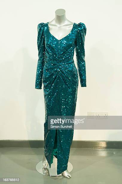 Catherine Walker Sea Green Evening Gown worn for a State visit to Austria in 1989 is displayed at a photocall ahead of the the 'Fit For a Princess'...