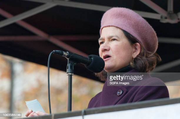 Catherine West MP seen speaking during the protest Huge crowds marched from the BBC in Portland Place to Whitehall with flags and placards during the...