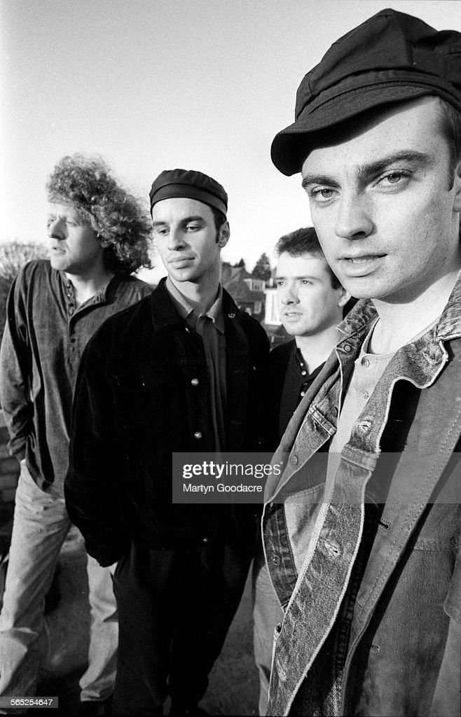 Catherine Wheel, group portrait, United Kingdom, 1990. Line up includes Dave Hawes, Brian Futter, Neil Sims and Rob Dickinson.
