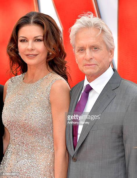 Catherine Zeta Jones and actor Michael Douglas attend the European Premiere of Marvel's 'AntMan' at the Odeon Leicester Square on July 8 2015 in...