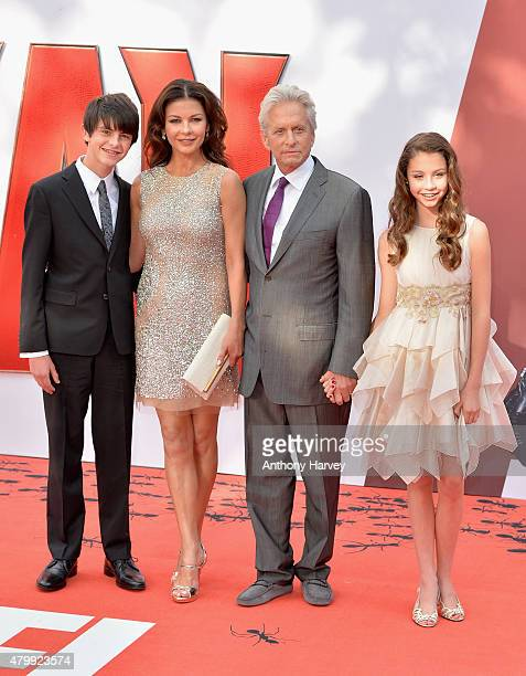 Catherine Zeta Jones and actor Michael Douglas with their children Dylan and Carys as they attend the European Premiere of Marvel's AntMan at the...