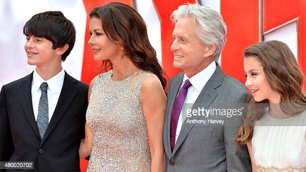 Catherine Zeta Jones and actor Michael Douglas with their children Dylan and Carys attend the European Premiere of Marvel's AntMan at Odeon Leicester...