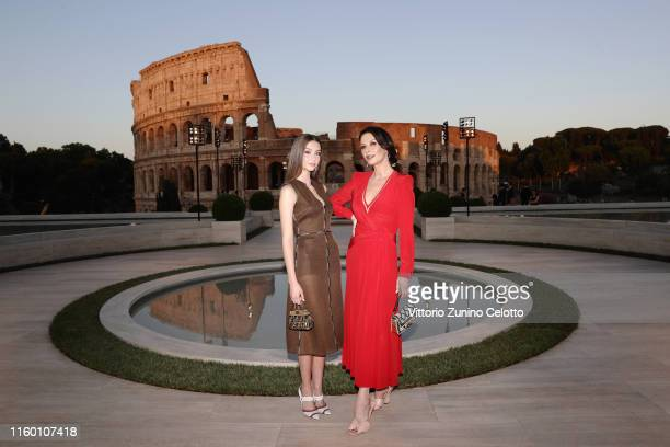 Catherine Zeta Jones and Carys Zeta Douglas attend the Cocktail at Fendi Couture Fall Winter 2019/2020 on July 04 2019 in Rome Italy