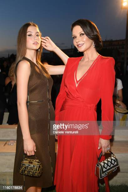 Catherine Zeta Jones and Carys Zeta Douglas attend the Fendi Couture Fall Winter 2019/2020 Show on July 04 2019 in Rome Italy