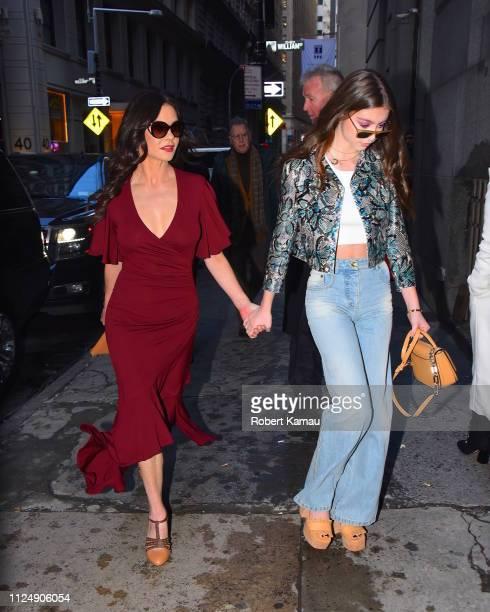 Catherine Zeta Jones and daughter Carys Zeta Douglas seen attending a fashion show in Manhattan on February 13 2019 in New York City