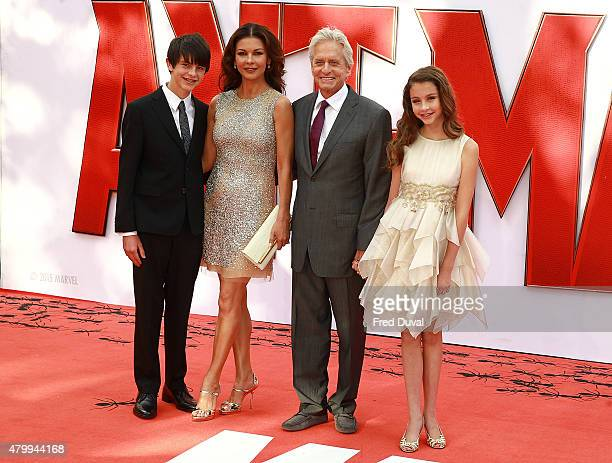 Catherine Zeta Jones and Michael Douglas and their children Dylan and Carys attend the European Premiere of Marvel's AntMan' at Odeon Leicester...