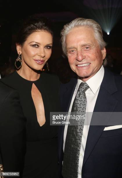 Catherine Zeta Jones and Michael Douglas pose at The Actors Fund of America's 'Career Transition for Dancers Jubilee Gala' at The Marriott Marquis...