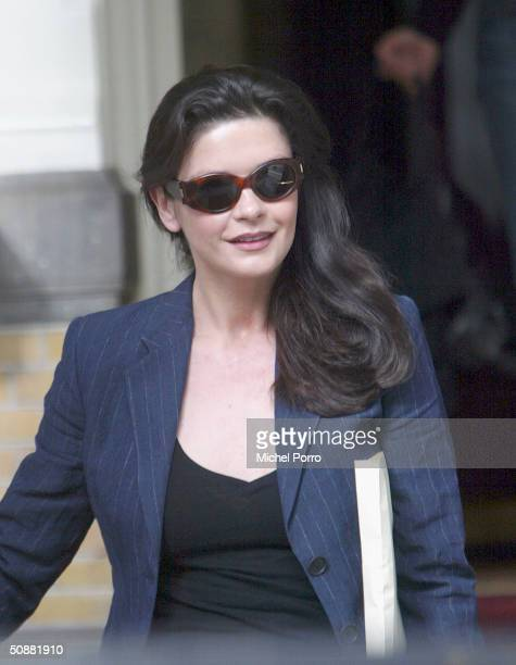 Catherine Zeta Jones leaves the Amstel Hotel after wrapping up shooting of Ocean's 12 May 21 2004 in Amsterdam Netherlands