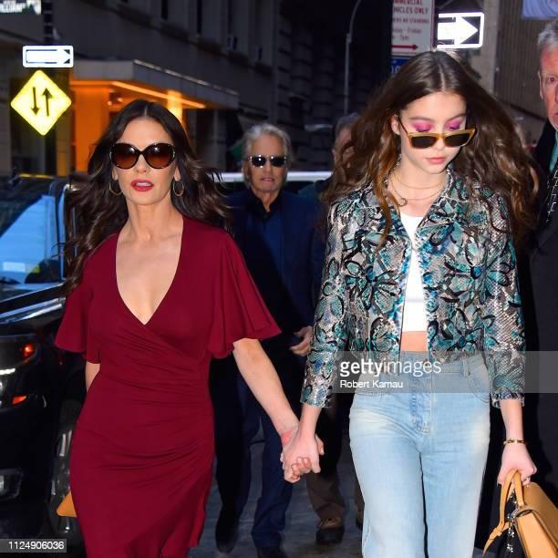 Catherine Zeta Jones Michael Douglas and daughter Carys Zeta Douglas seen attending a fashion show in Manhattan on February 13 2019 in New York City