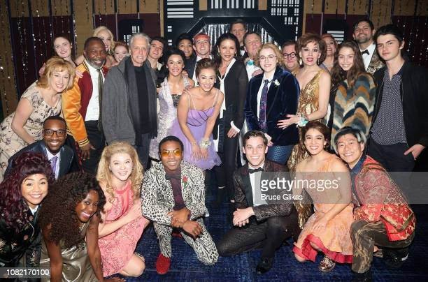 Catherine Zeta Jones Michael Douglas Carys Douglas and Dylan Douglas pose with the cast backstage at the hit new musical 'The Prom' on Broadway at...