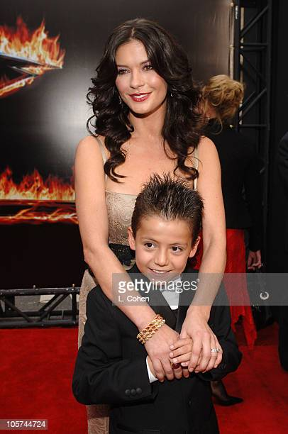 Catherine ZetaJones and Adrian Alonso during Columbia Pictures' 'The Legend of Zorro' Los Angeles Premiere Red Carpet at Orpheum Theatre in Los...
