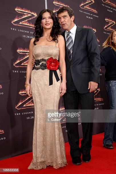 Catherine ZetaJones and Antonio Banderas during Columbia Pictures' 'The Legend of Zorro' Los Angeles Premiere Red Carpet at Orpheum Theatre in Los...
