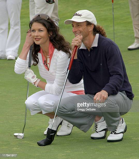 Catherine ZetaJones and Kenny G during 9th Annual Michael Douglas Friends Celebrity Golf Event at Trump National Golf Club in Rancho Palos Verdes...