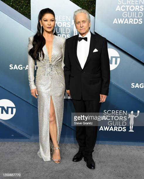 Catherine Zeta-Jones and Michael Douglas arrives at the 26th Annual Screen Actors Guild Awards at The Shrine Auditorium on January 19, 2020 in Los...