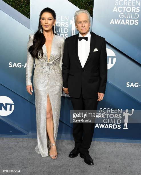 Catherine ZetaJones and Michael Douglas arrives at the 26th Annual Screen ActorsGuild Awards at The Shrine Auditorium on January 19 2020 in Los...