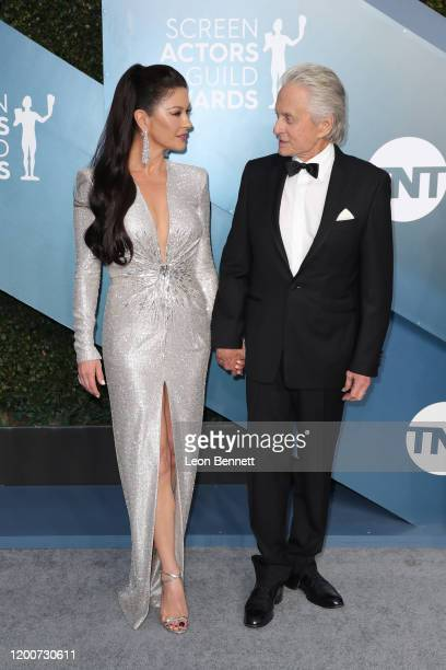 Catherine ZetaJones and Michael Douglas attend 26th Annual Screen Actors Guild Awards at The Shrine Auditorium on January 19 2020 in Los Angeles...