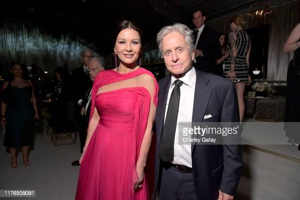 Catherine ZetaJones and Michael Douglas attend the 2019 Netflix Primetime Emmy Awards After Party at Milk Studios on September 22 2019 in Los Angeles...