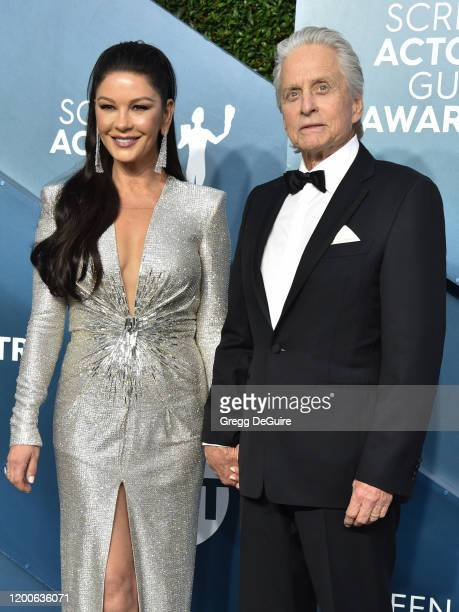 Catherine ZetaJones and Michael Douglas attend the 26th Annual Screen ActorsGuild Awards at The Shrine Auditorium on January 19 2020 in Los Angeles...