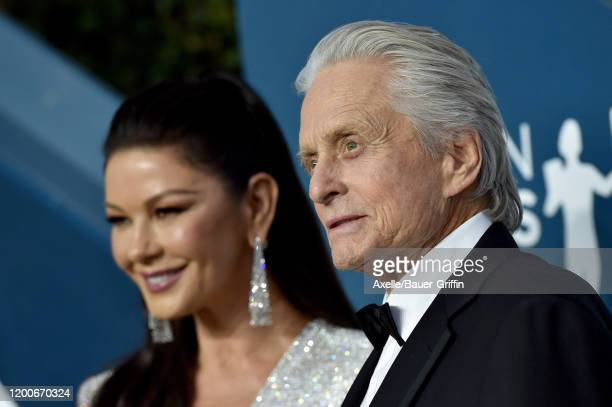 Catherine ZetaJones and Michael Douglas attend the 26th Annual Screen Actors Guild Awards at The Shrine Auditorium on January 19 2020 in Los Angeles...